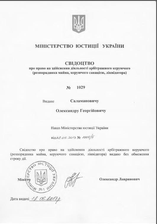 Свідоцтво Саламанович